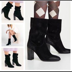 FREE PEOPLE Dakota Suede Slouch Block Heel Boots